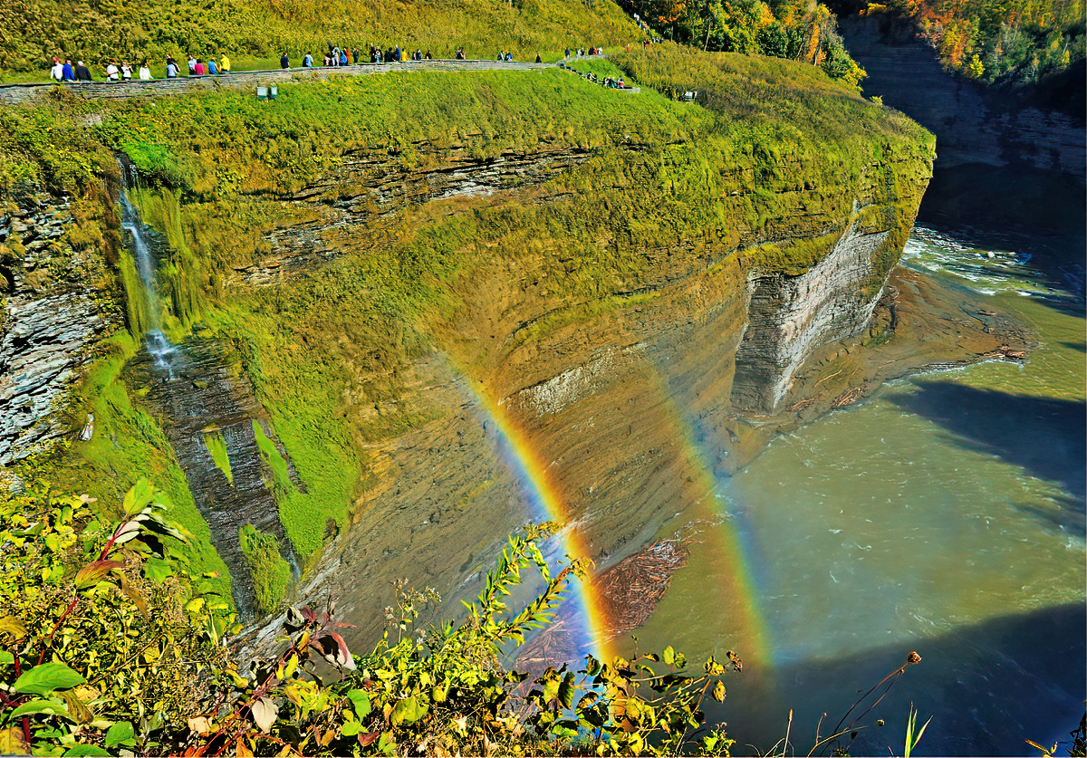 Keep your eyes open for a double rainbow near the waterfalls in Letchworth State Park.