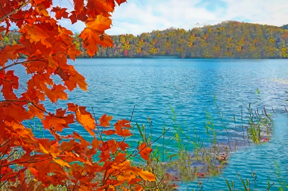 Hiking is a delight at Green Lakes State Park when leaves turn red.