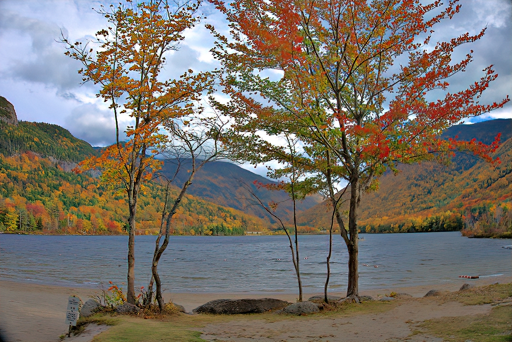 Echo Lake Beach at Franconia Notch State Park.