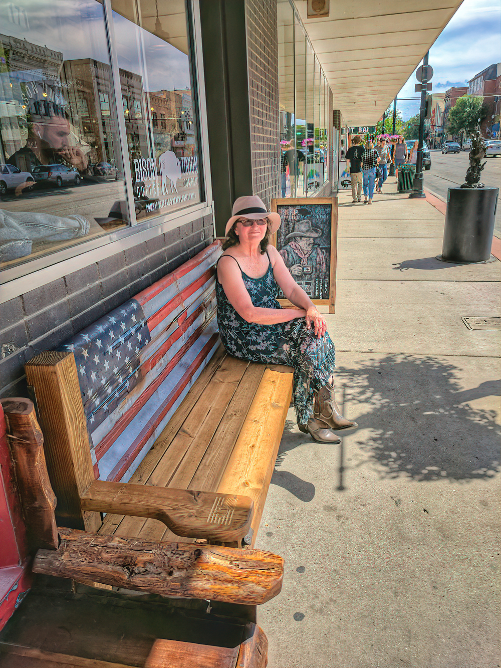Sheridan, Wyoming - lady on a bench.