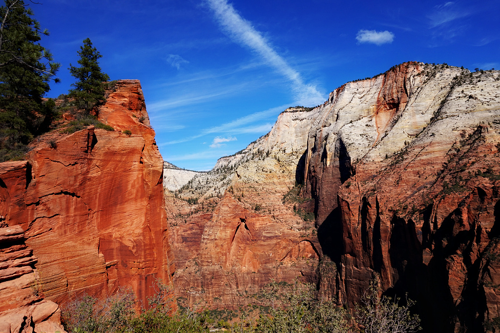 A beautiful view of the mountains from the Angels Landing Trail at Zion National Park.
