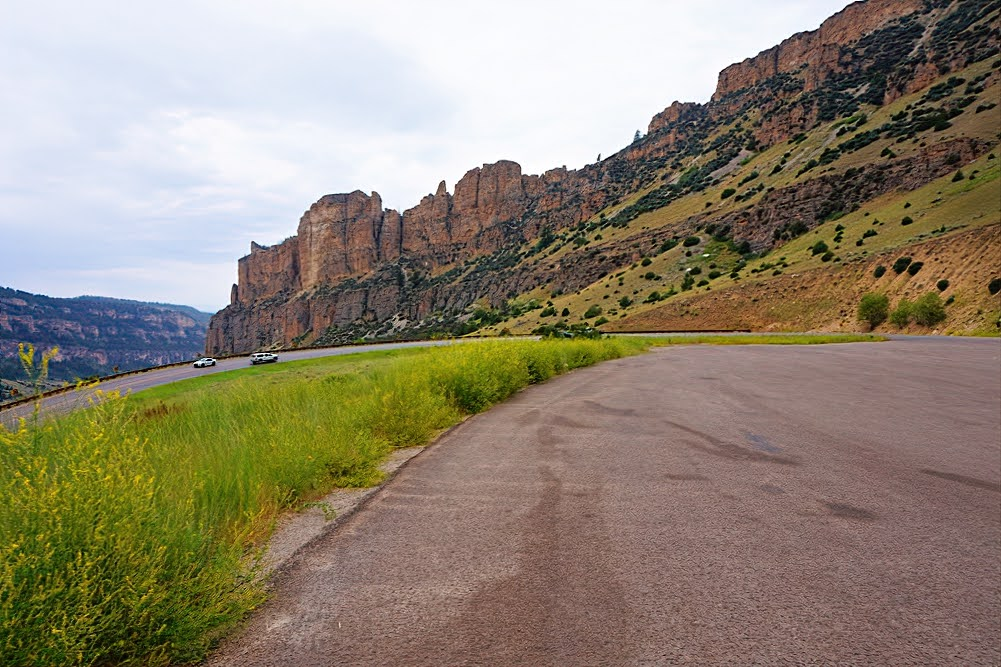 Bighorn Mountains in Wyoming. Road curve.