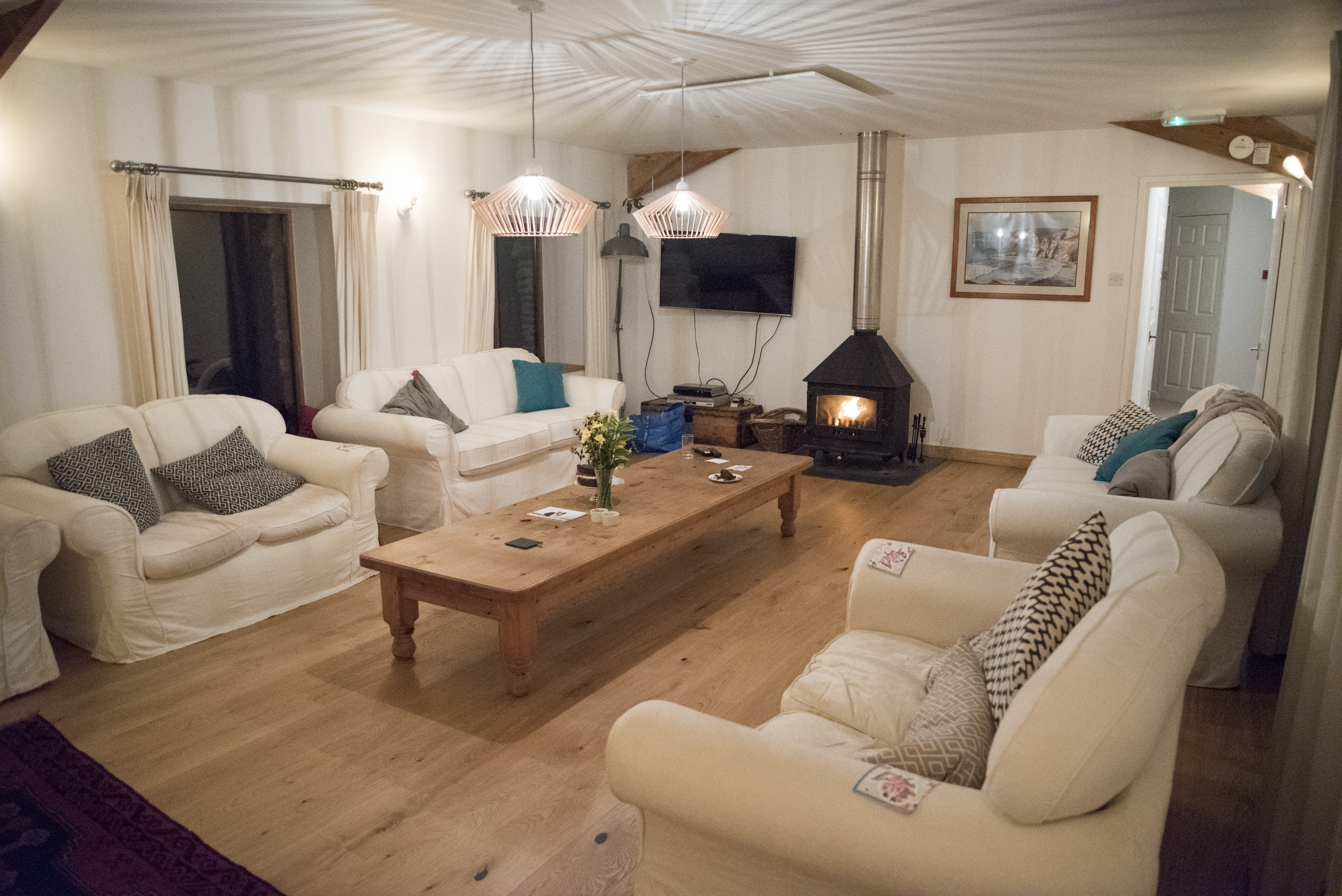 Sewing retreat, Devon, The shippon, Log fire, comfy sofas
