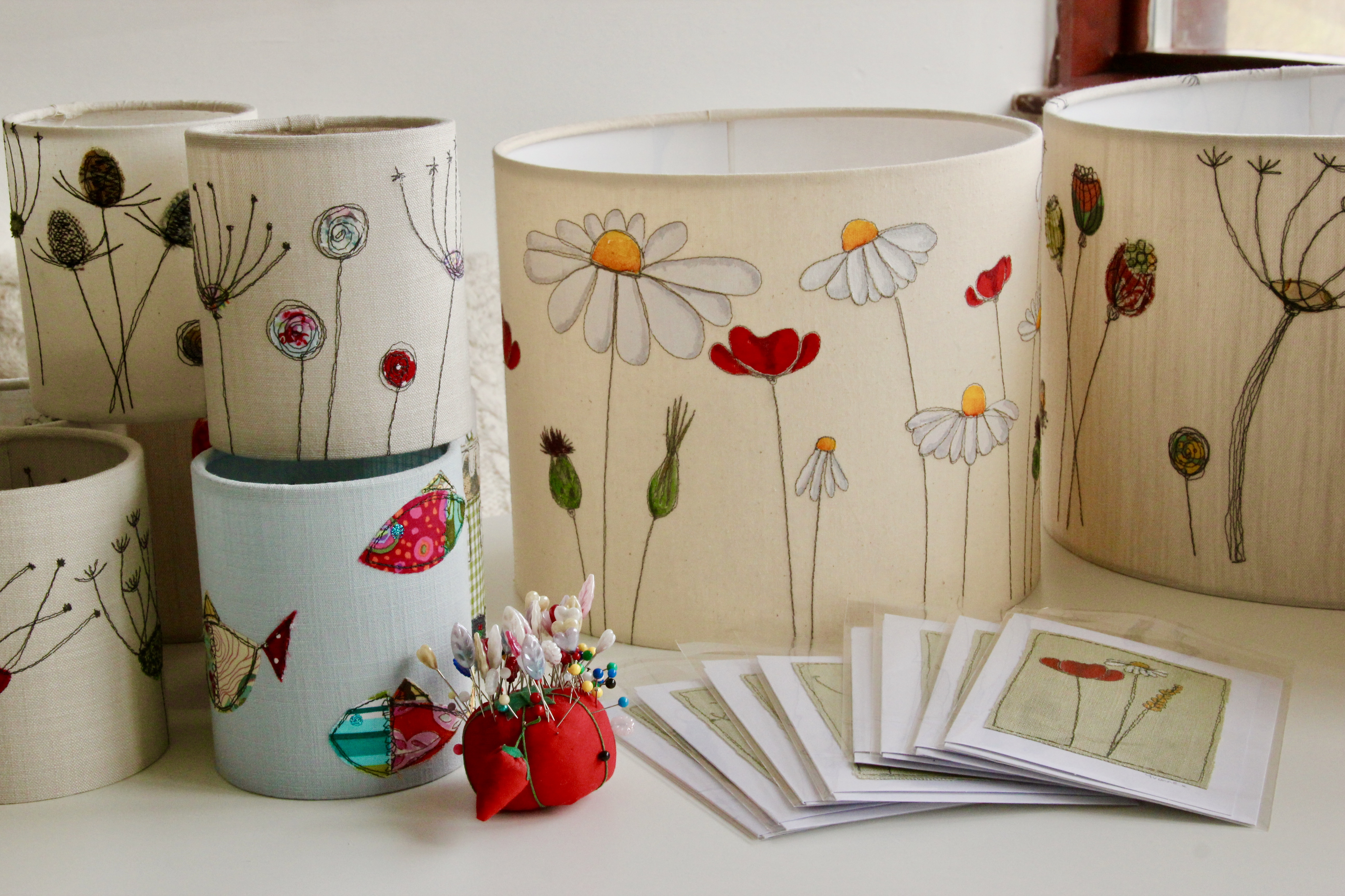 Handmade lampshades, freemotion embroidery, paint, lanterns