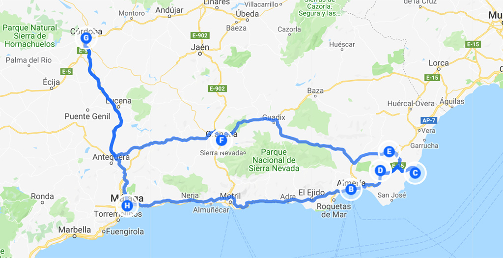 roadtrip Andalusië route 1 week oost
