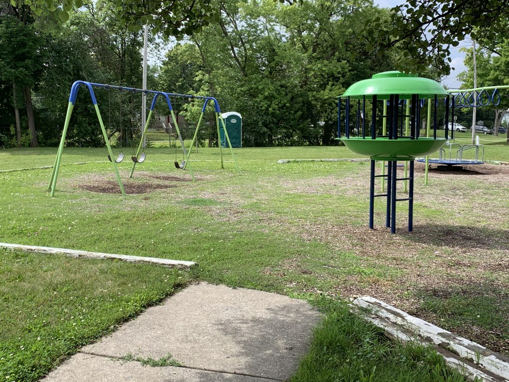 A photo of the playground in Hardenbrook Park, Flint, MI. The Northern Class of 1977 community members have been maintaining this park for years.