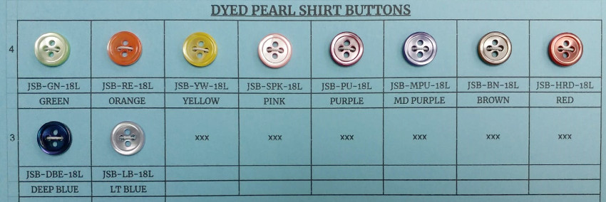 Dyed Pearl Shirt Buttons - 10 Colors
