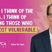 "Mayor Michael Fougere supports the work or YWCA Regina and the ""Here for Her"" movement"