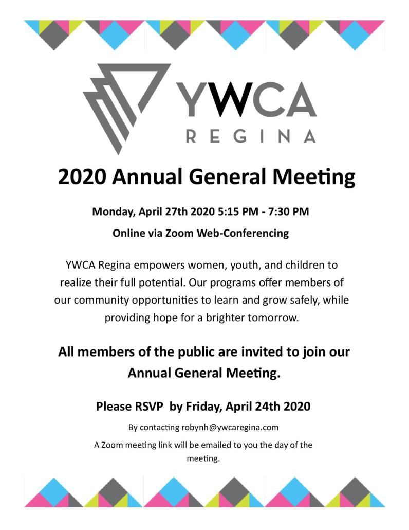 YWCA Regina Announcing that the 2020 AGM will be held online only