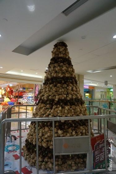A Christmas tree made from teddy bears