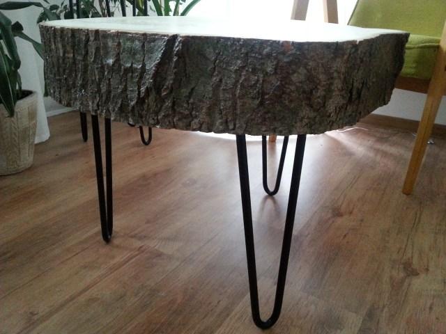 07 diy stolik z plastra drewna na trzech nóżkach hairpin legs podstawka pod kwiatka kawowy nocny pomocnik diy do it yourself jak zrobić