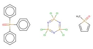 Základní struktury sloučenin fosforu: Trifenylfosfinoxid, hexachlorocyklotrifosfazen a methylfosfoloxid