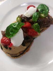 Erik fired egg plant burrata tomatoes 0719