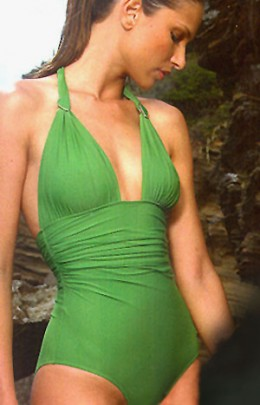 Lenny Swimwear for 2008 is modern, clean and sleek. This beautiful, halter-style maillot is no exception. Done in a rich green, with soft ruching to create a slim waist, and sliding ring and stone detail to accentuate the bustline.
