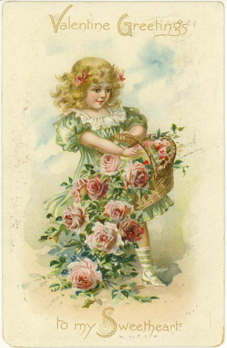 little girl with basket of pink flowers on a romantic card