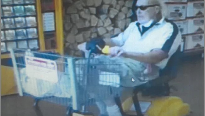 ELDERLY MAN TAKES SCOOTER FROM YUCCA VALLEY STATER BROTHERS STORE