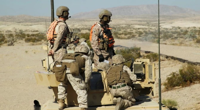 MARINES CONDUCTING EXERCISES ON THE COMBAT CENTER IN TWENTYNINE PALMS