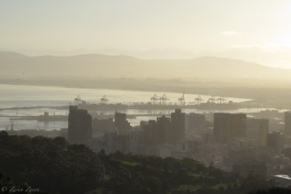 Cape Town city and harbour in the morning light