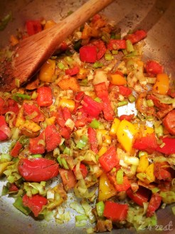 sauté the leeks, peppers and spices