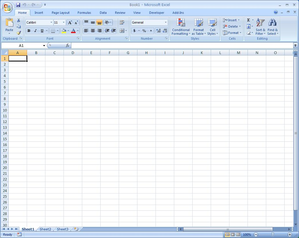 Microsoft Excel Spreadsheet Environment