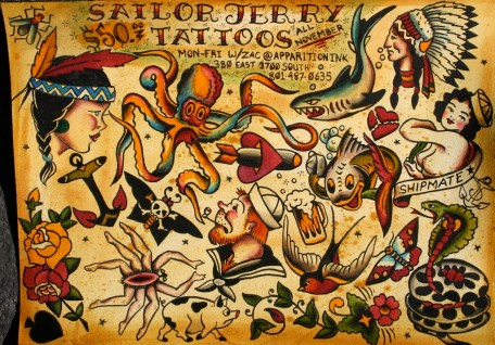 Ink and Watercolor on Paper 2010 All Sailor Jerry Designs repainted on this sheet for a promo I ran.