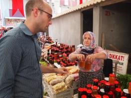 Zach buying some honey