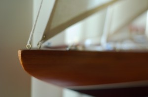 Model boat photo with limited focus