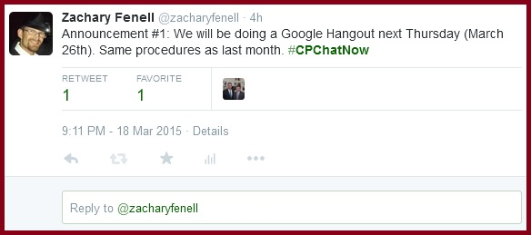March 26th #CPChatNow Google Hangout announced