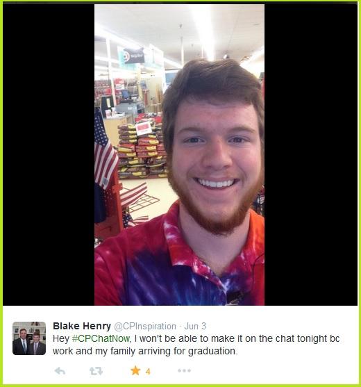 Blake misses #CPChatNow