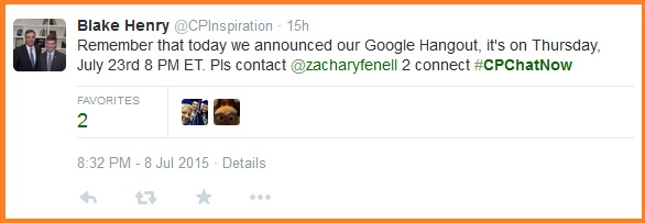 Date for July 2015 Google Hangout
