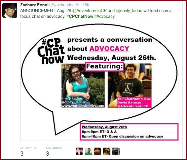 August 26th #CPChatNow presents a focus chat about advocacy.