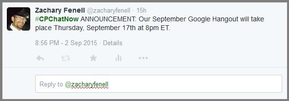 #CPChatNow September Google Hangout announcement