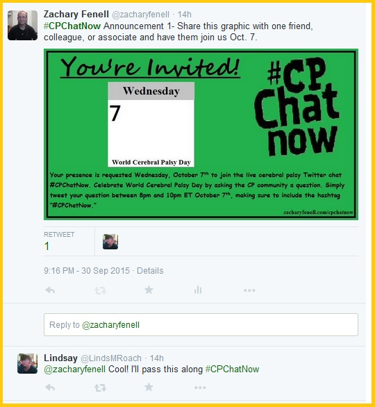 Celebrate World CP Day Oct. 7th with #CPChatNow