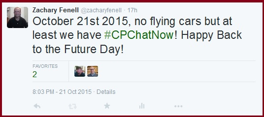 #CPChatNow on Back to the Future Day!