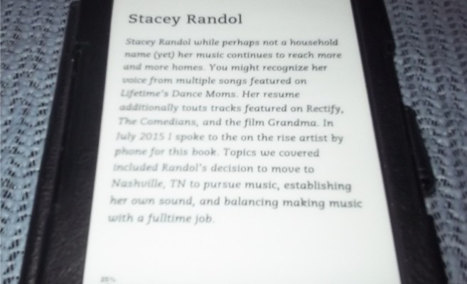 I'm editiing my musician interviews book on my Kindle.