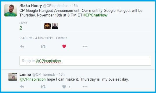 November Google Hangout Announcement