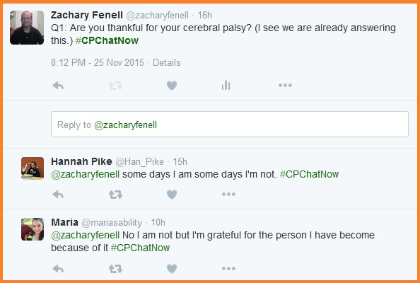 Q1- Are you thankful for your cerebral palsy?