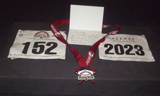 Mementos from road races I've completed.