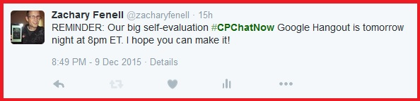 #CPChatNow Self-Evaluation Hangout reminder