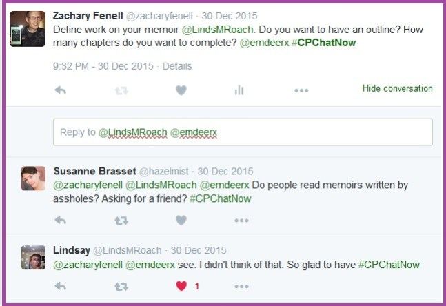 Lindsay finds the #CPChatNow New Year Resolutions focus chat beneficial.