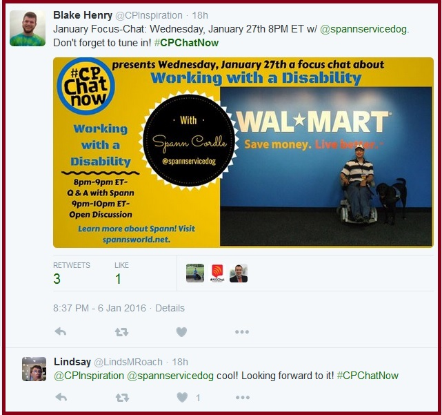 #CPChatNow's first focus chat of 2016 will focus on working with a disability.
