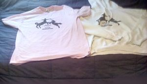 """My original """"Normal is a myth"""" order included a light pink t-shirt and white hoodie."""