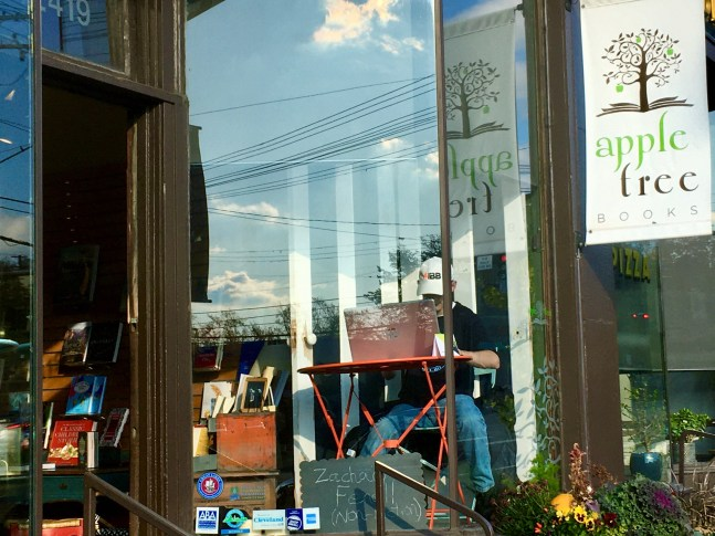 My NaNoWriMo efforts included working on my WIP in Appletree Books' storefront window.