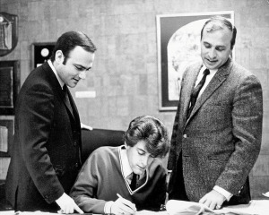 Manager Leonard Stogel, Tommy James and Morris Levy, management agreement signing, 1966 (publicity photo)