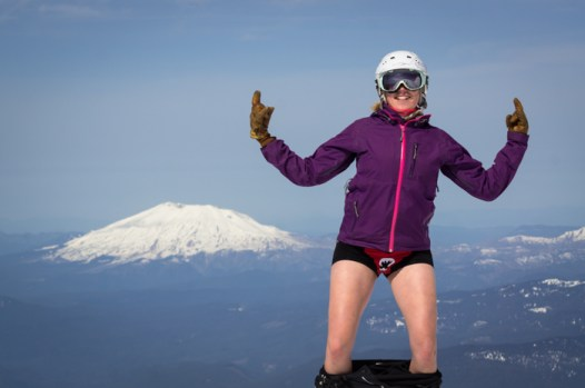 Grete, Mt. St. Helens, and her ROAR shorts