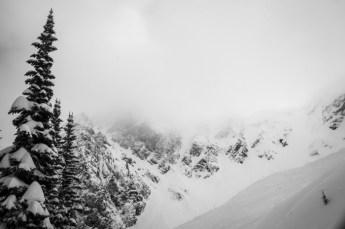 Mt. Mackenzie's Brown Shorts Couloir Looming In Clouds