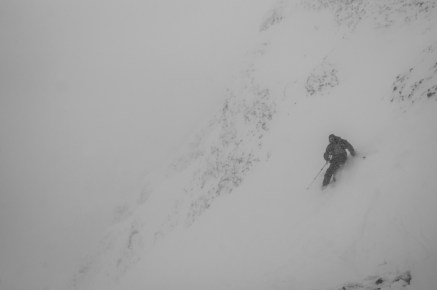 Jesse Dudley Eyeing the Big Couloir at Big Sky