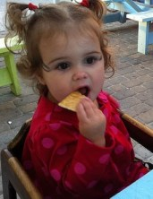 Milly Dotsey eating outside Vito's on Wrightsville Beach
