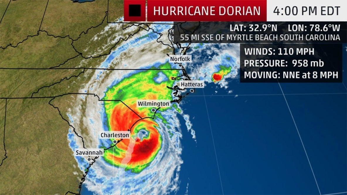 Hurricane Dorian September 5, 4 PM from The Weather Channel