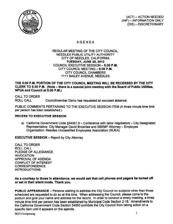 Needles City Council and Needles Public Utility Authority Meeting- Tuesday, June 25th, 2013
